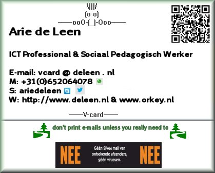 V-card van Arie de Leen